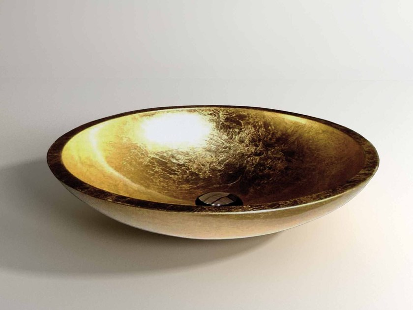 Countertop oval Stonelight washbasin SCOOP - Flora Style