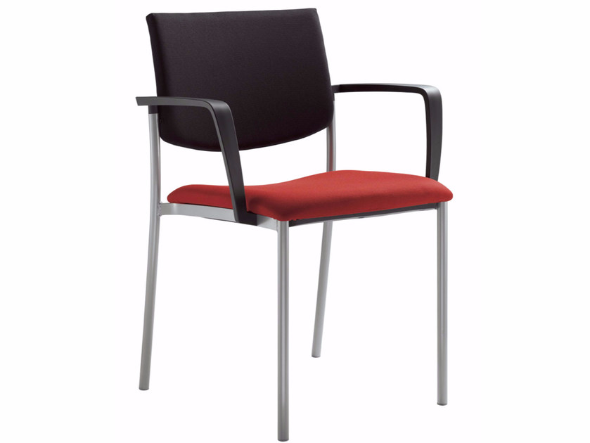 Stackable training chair with armrests SEANCE 090 K-B-N - LD Seating