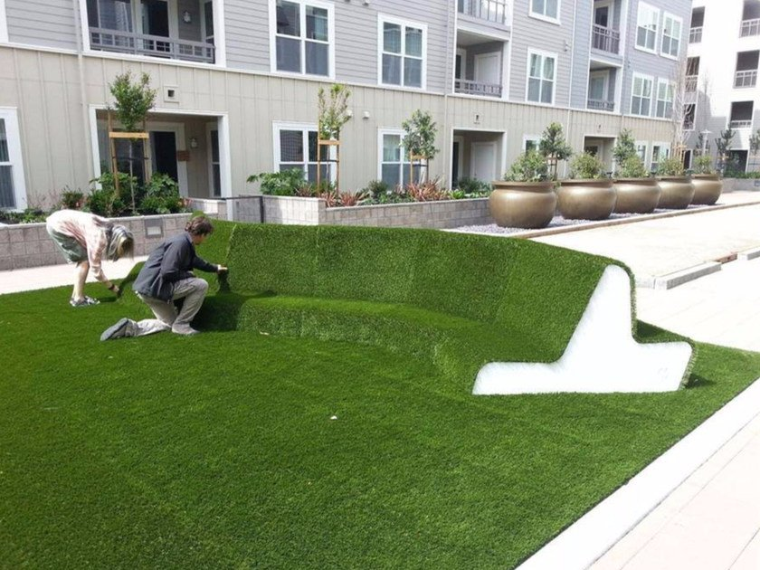 Sectional EPS Bench covered with synthetic grass ERBOTTO® | Sectional Bench - Cabox