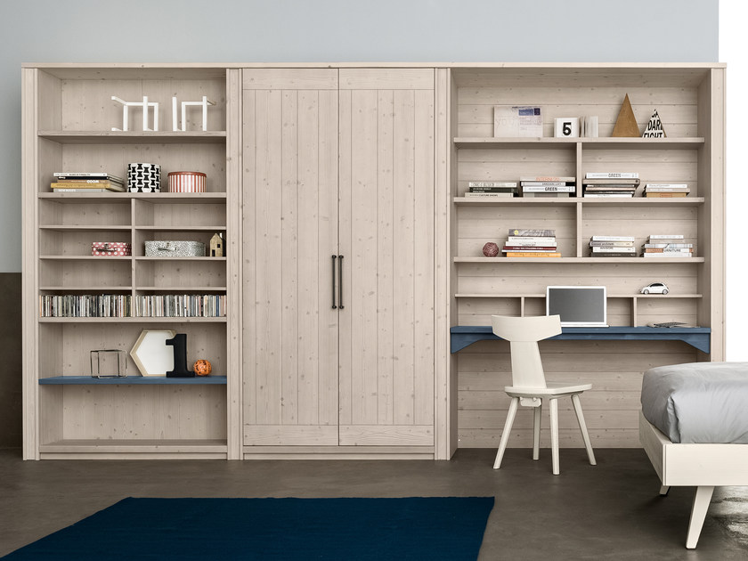 Sectional spruce storage wall with secretary desk Sectional storage wall by Scandola Mobili