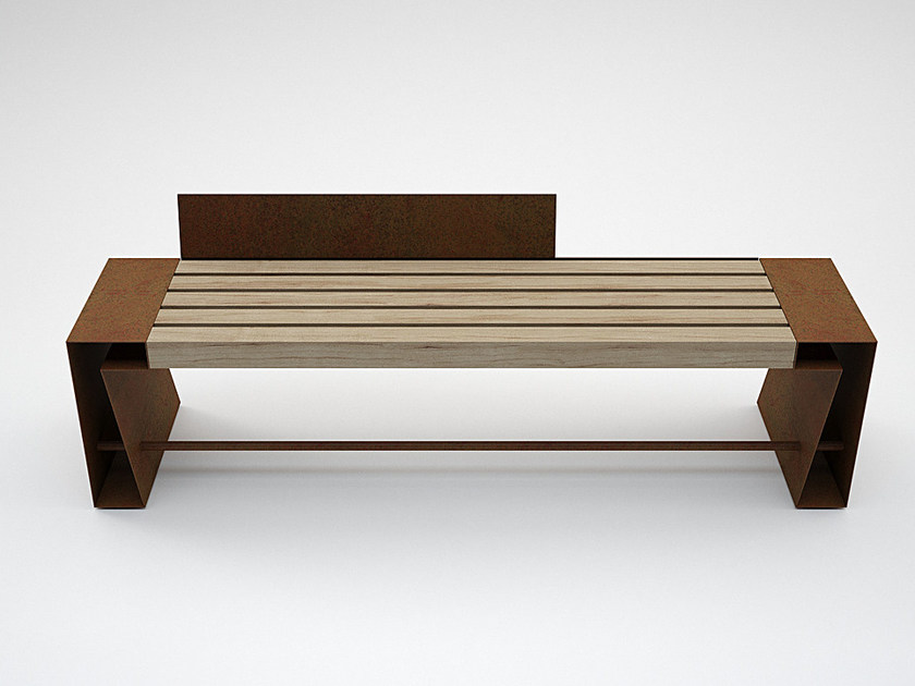 Steel and wood Bench SEVEN by CITYSì