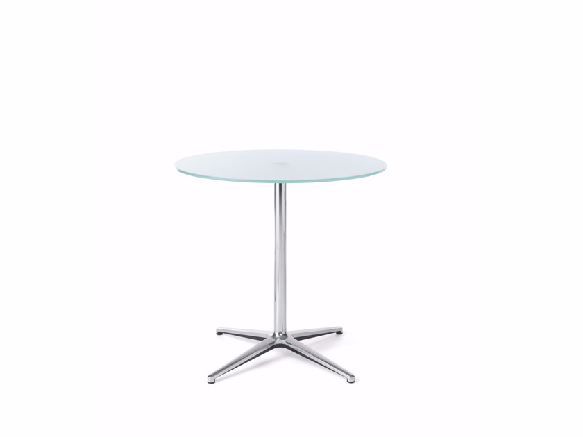 Round glass table with 4-star base SF20 by profim