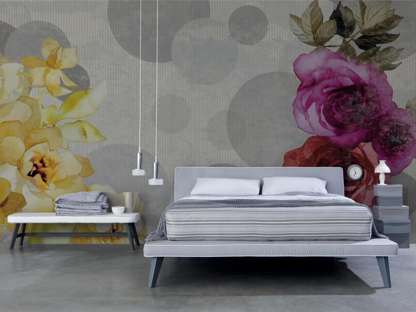 Panoramic wallpaper with floral pattern SHABBY CHIC - Inkiostro Bianco