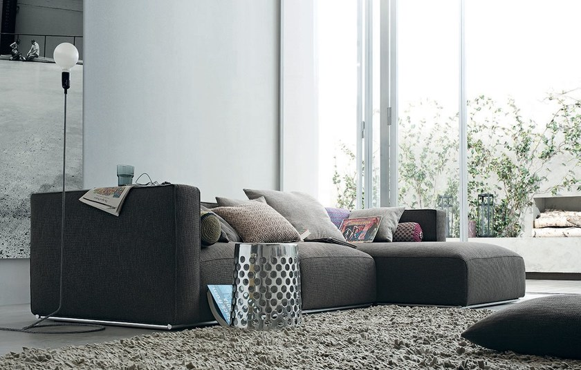 Sectional fabric sofa with removable cover with chaise longue SHANGAI | Sofa with chaise longue - Poliform