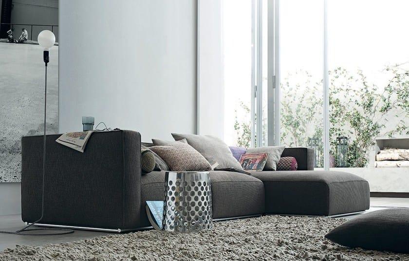 Divano componibile sfoderabile in tessuto con chaise longue SHANGAI | Divano con chaise longue - Poliform