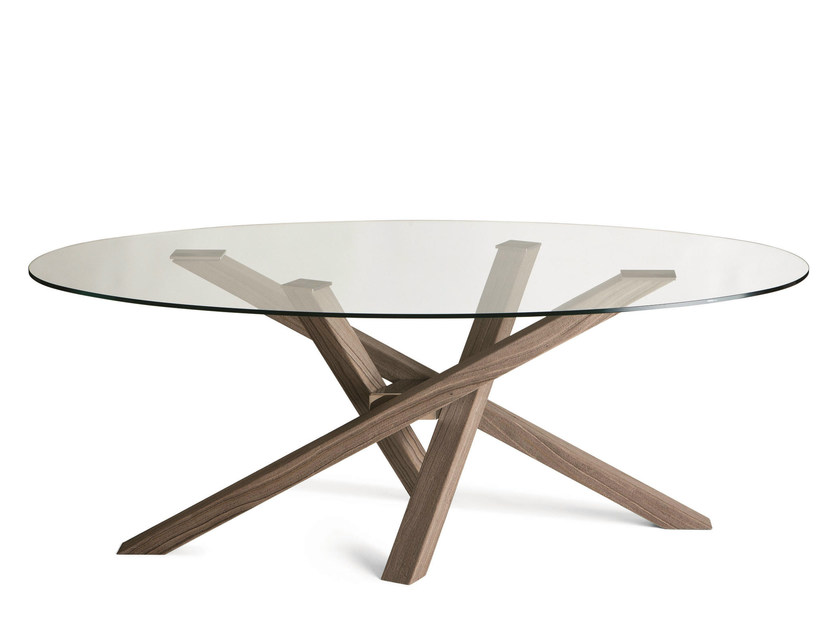 Round wood and glass table SHANGAI | Wood and glass table - RIFLESSI