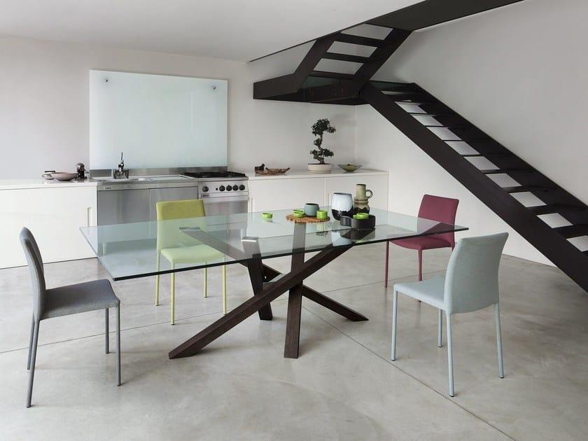 Tavolo da pranzo rettangolare in legno e vetro shangai for Tavoli da pranzo in cristallo