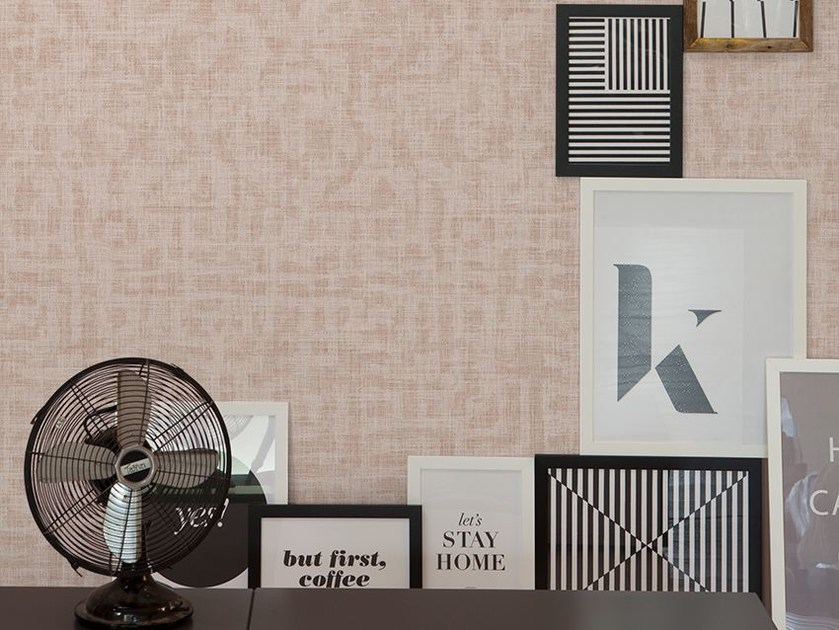 Motif wallpaper with textile effect SHELLEY - Inkiostro Bianco