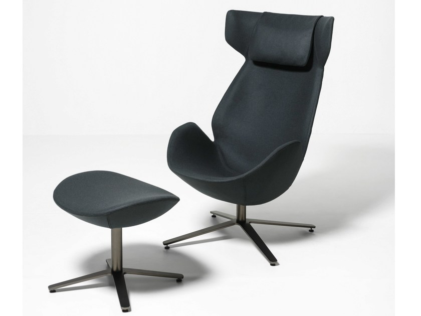 High-back armchair with 4-spoke base with headrest SHELTER - Tacchini Italia Forniture