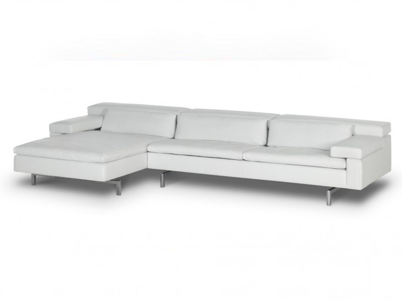 Leather sofa with chaise longue SHIVA | Leather sofa by JORI