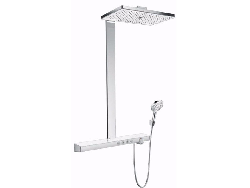 Wall-mounted shower panel with overhead shower RAINMAKER SELECT | Shower panel by hansgrohe