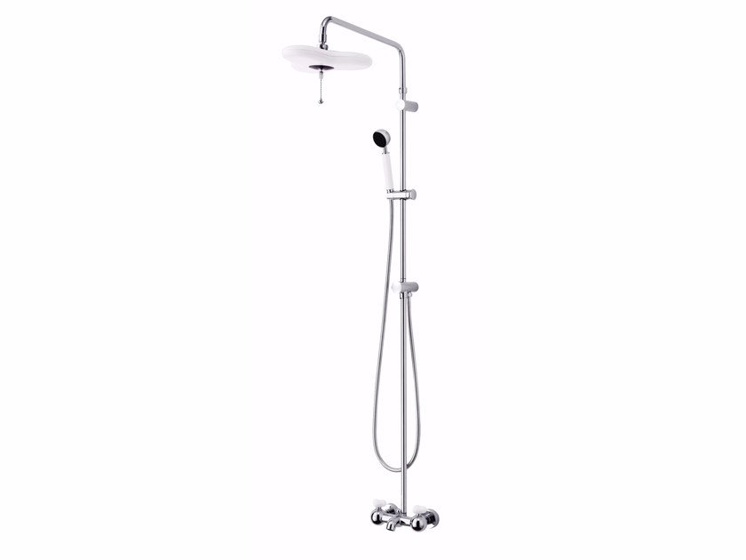 Wall-mounted chromed brass shower panel with hand shower with overhead shower STORY | Shower panel by JUSTIME