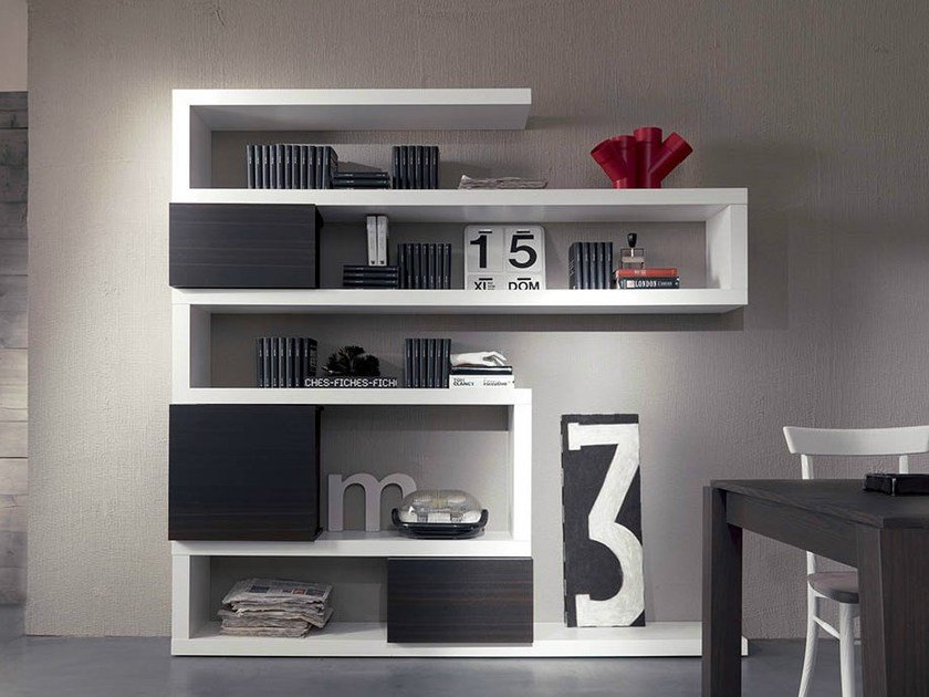 Wall-mounted lacquered floating bookcase SIDE 19 - Fimar