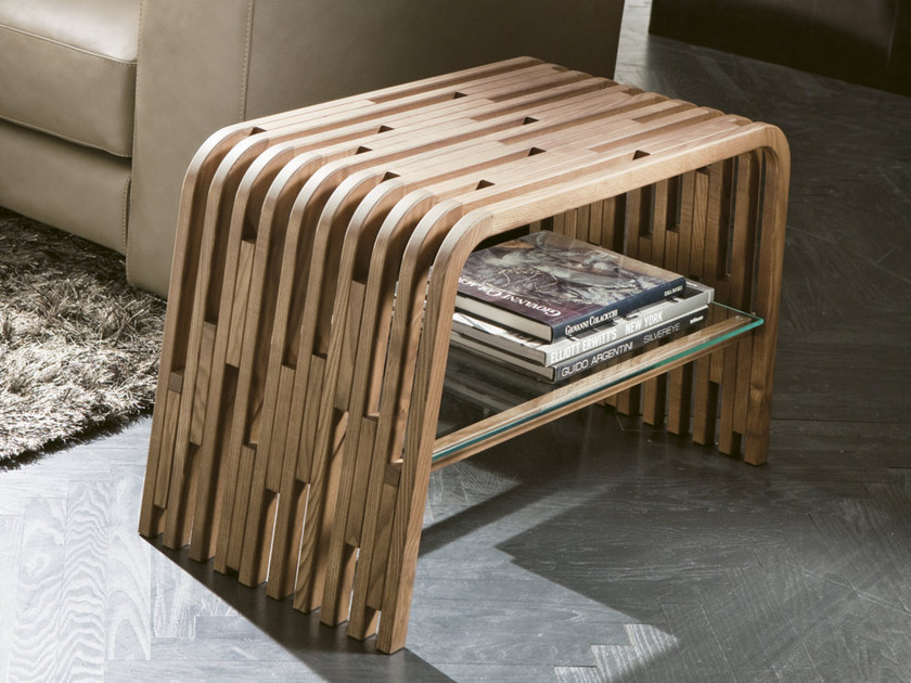 Tavolino basso in legno massello con vano contenitore MILLERIGHE | Tavolino di servizio - Pacini & Cappellini