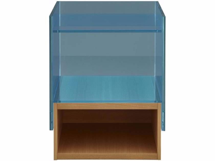 Square wood and glass side table HAMPTON | Side table - ROSET ITALIA