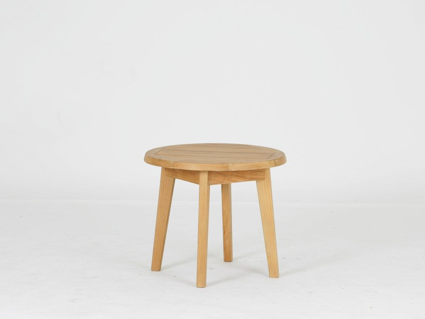 Round teak garden side table PORTSEA | Side table by 7OCEANS DESIGNS