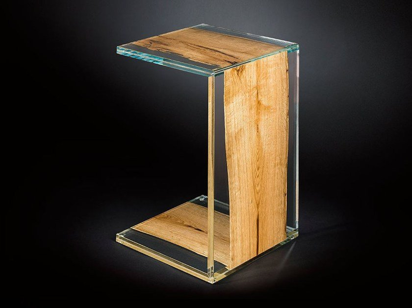 Wood and glass side table VENEZIA | Side table - VGnewtrend