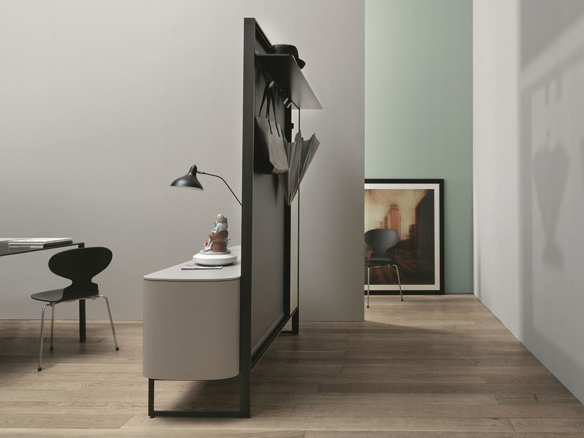 Contemporary style wall-mounted free standing wooden coat rack with doors SIDEVIEW by Caccaro