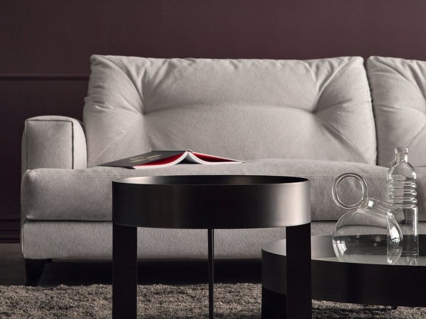 Round glass and steel coffee table SIEVE by Bodema