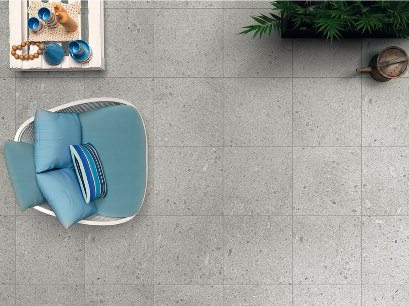 Porcelain stoneware flooring with stone effect SIGHT SILVER - CERAMICHE KEOPE