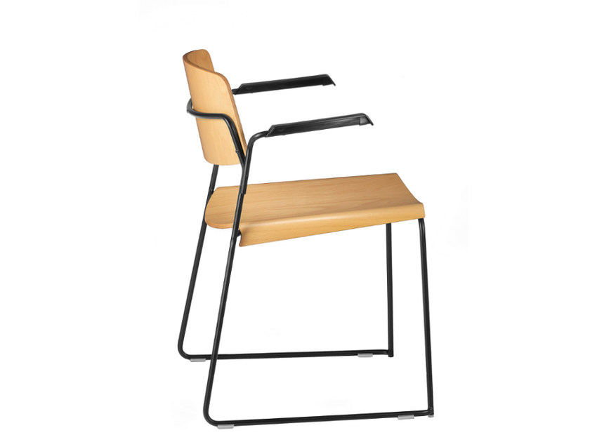 Sled base multi-layer wood reception chair with armrests SIGMA 167 - TALIN