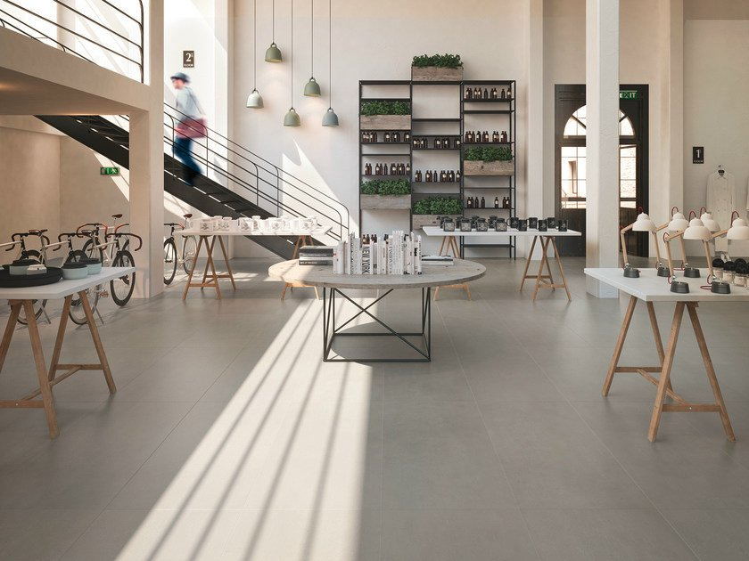 Porcelain stoneware flooring with concrete effect SISTEM P by MARAZZI
