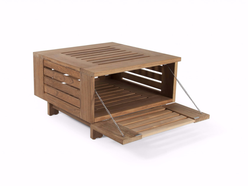 Square teak garden side table with storage space SKANÖR S | Coffee table - Skargaarden