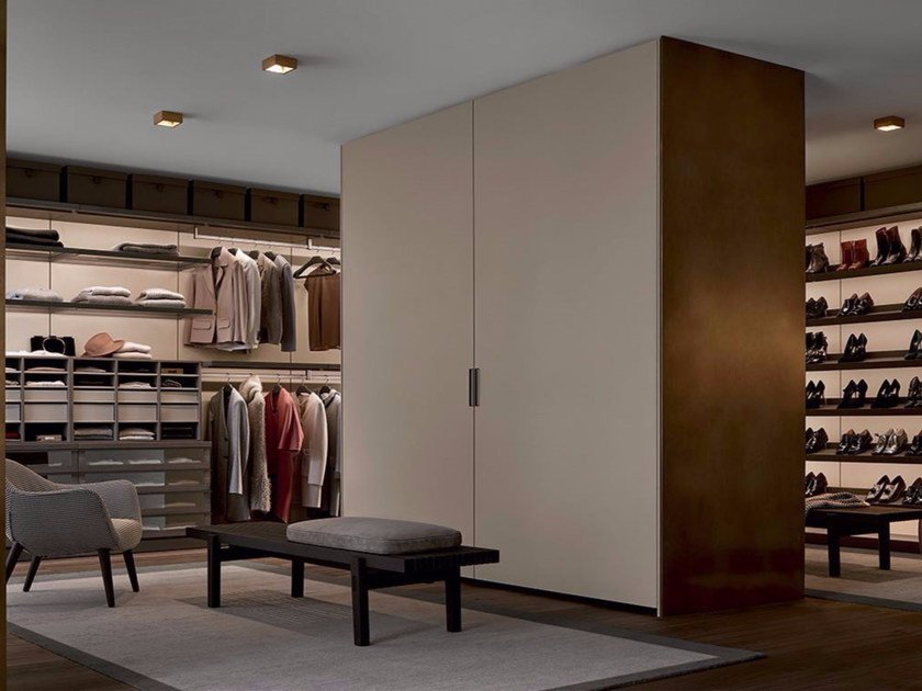 Lacquered melamine-faced chipboard wardrobe SKIN by poliform