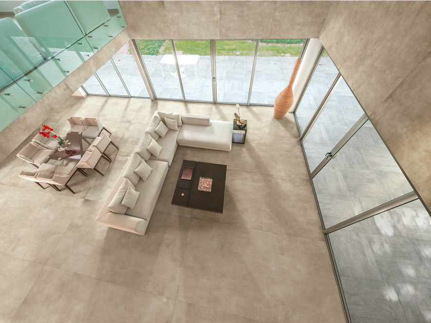 Porcelain stoneware wall/floor tiles with concrete effect SKYLINE BEIGE by AVA Ceramica