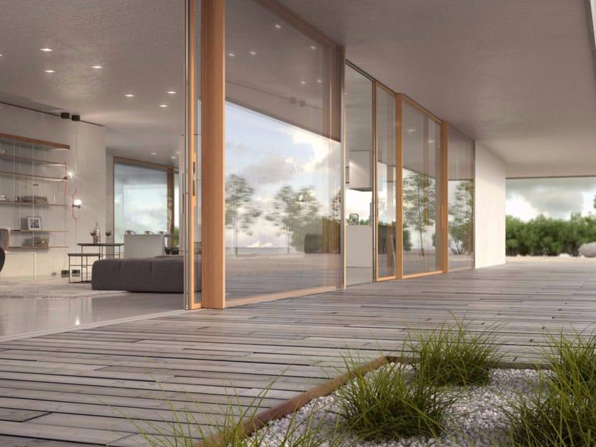 Porta finestra alzante scorrevole con doppio vetro in legno skyline sliding legno collezione - Finestre in legno con doppio vetro ...