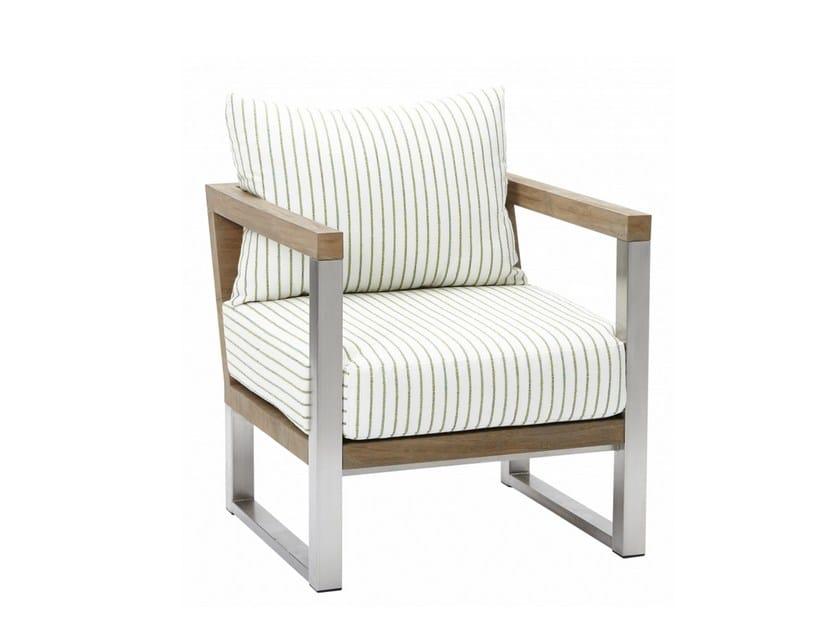 Sled base upholstered teak garden armchair with armrests ORIGIN | Sled base garden armchair - 7OCEANS DESIGNS