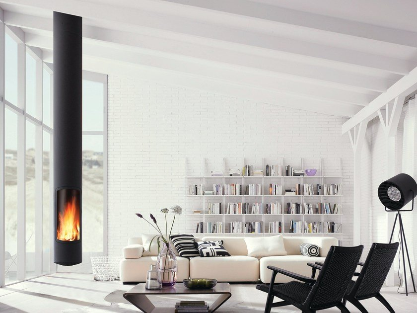 Wood-burning central hanging fireplace SLIMFOCUS by Focus creation