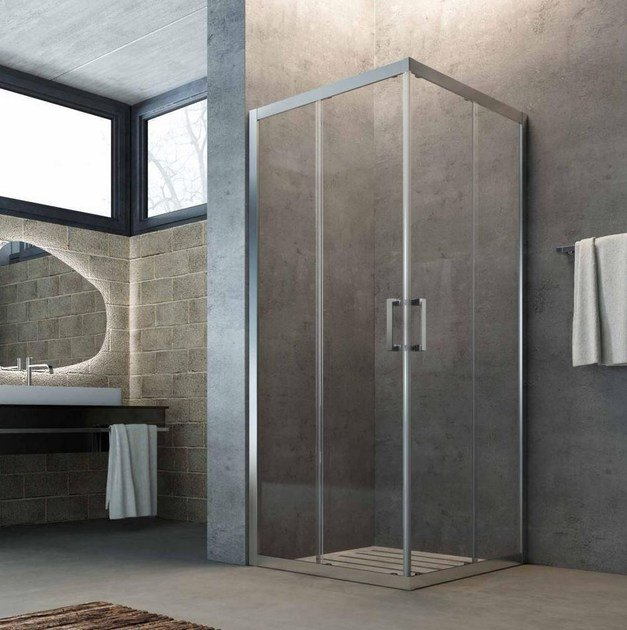 Corner crystal shower cabin with sliding door SLINTA SX - Glass 1989
