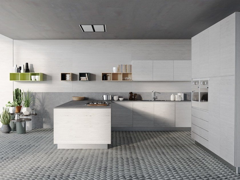 Lacquered kitchen with peninsula without handles SMILE | Kitchen with peninsula by DIBIESSE
