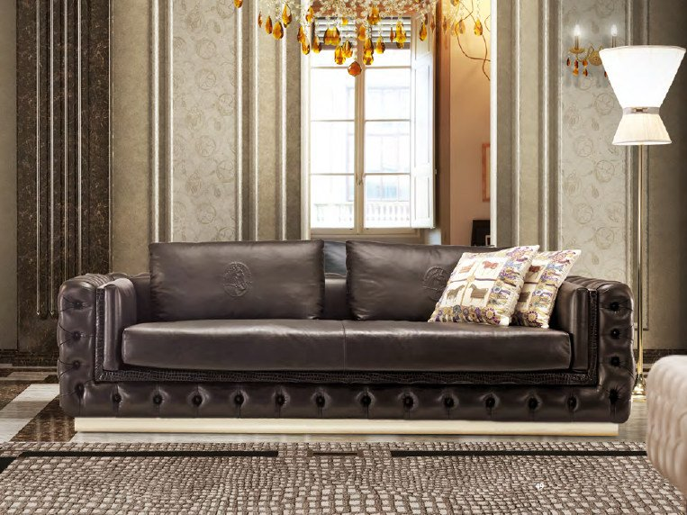 Tufted upholstered 3 seater leather sofa ELISA | Sofa by Formitalia Group