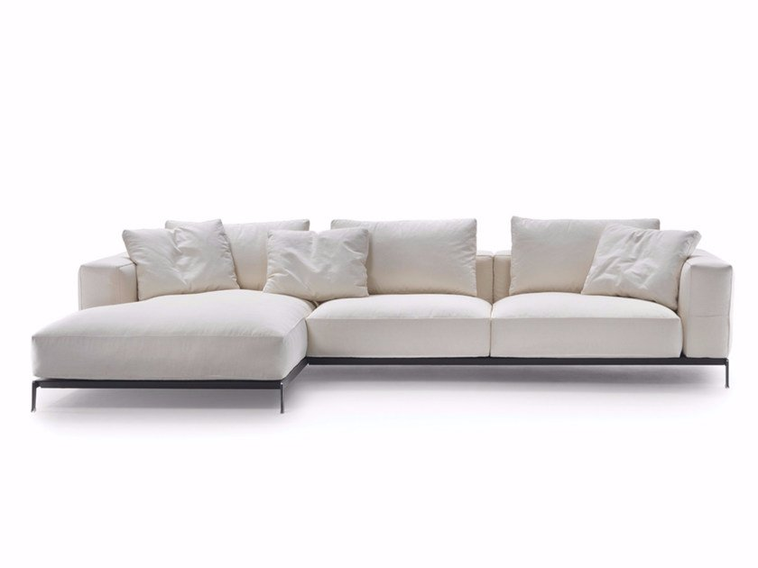 Sectional fabric sofa with removable cover with chaise longue ETTORE | Sofa with chaise longue - FLEXFORM