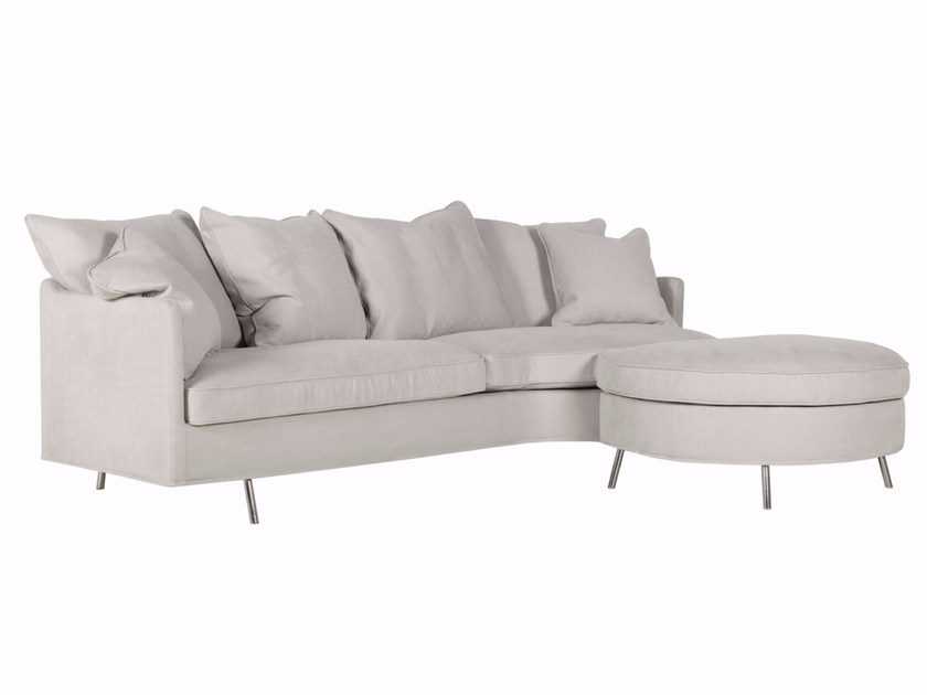 Upholstered 3 seater sofa with footstool JULIA | Sofa with footstool - SITS