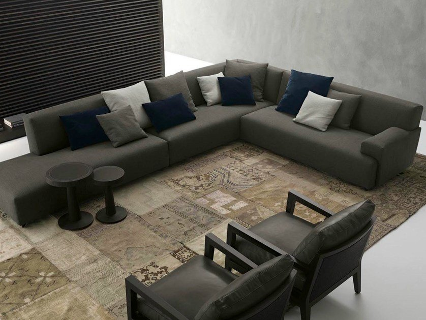 Corner sectional fabric sofa with removable cover SOHO | Corner sofa - Poliform