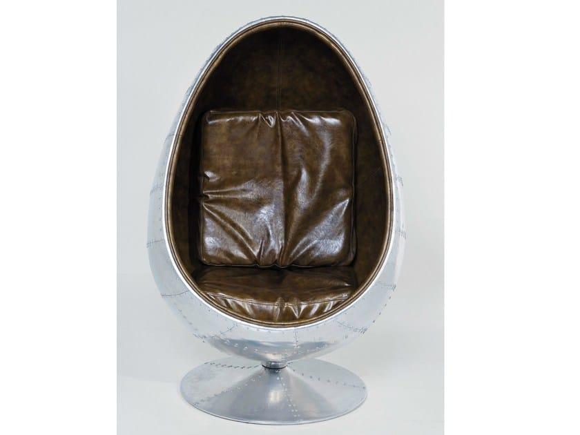 Swivel upholstered leather armchair SOHO EYE BALL - KARE-DESIGN