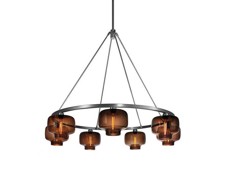 Direct light blown glass chandelier SOLA 48 - Niche Modern