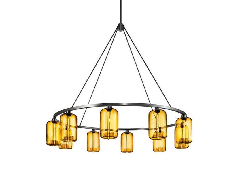 Direct light blown glass chandelier SOLA 60 - Niche Modern