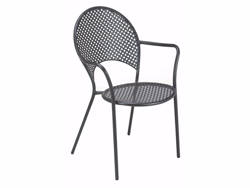 Stackable steel garden chair with armrests SOLE by emu