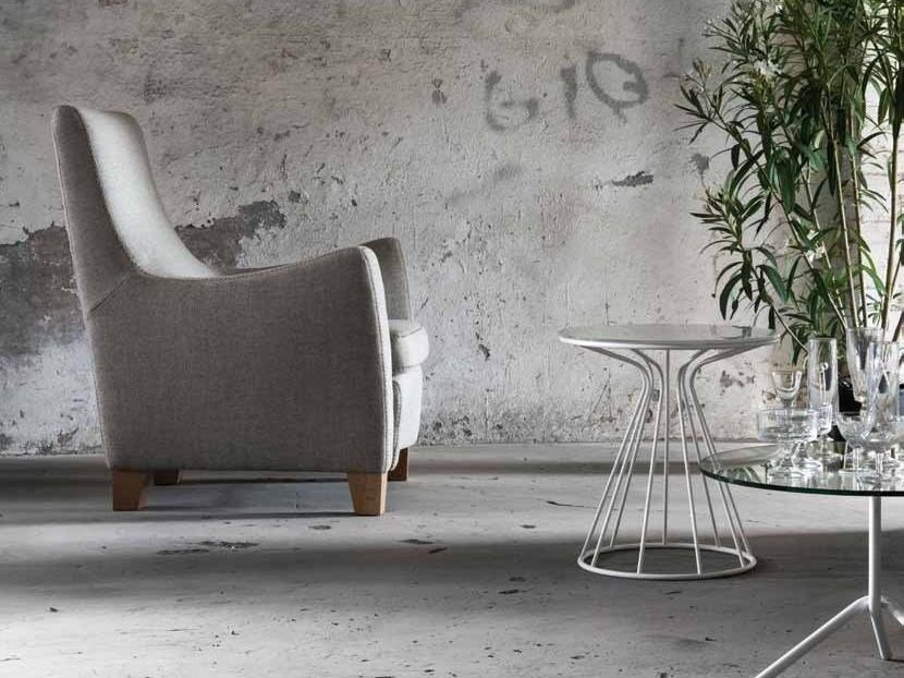 Upholstered armchair with armrests SOLE | Fabric armchair by Minimomassimo