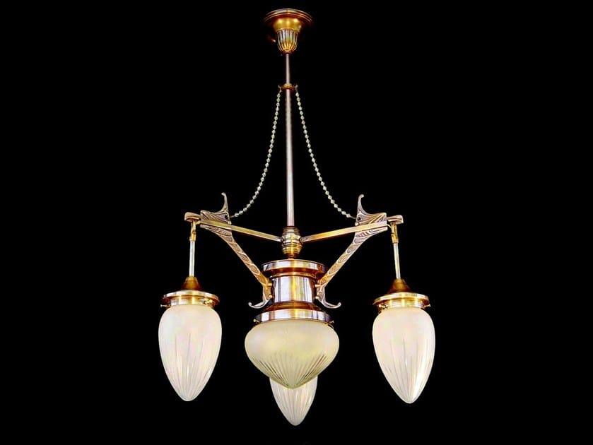 Lampadario a luce diretta in ottone SOLO VIII | Lampadario - Patinas Lighting
