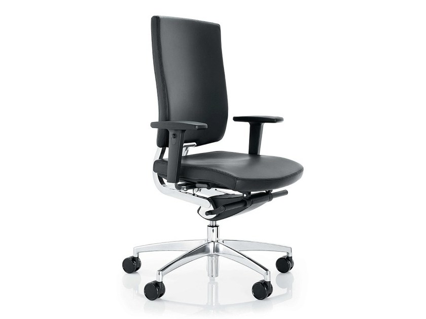 Leather task chair with 5-Spoke base with armrests SONA - Boss Design