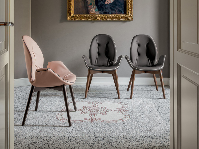 Upholstered leather chair with armrests SORRENTO | Chair with armrests by Tonin Casa
