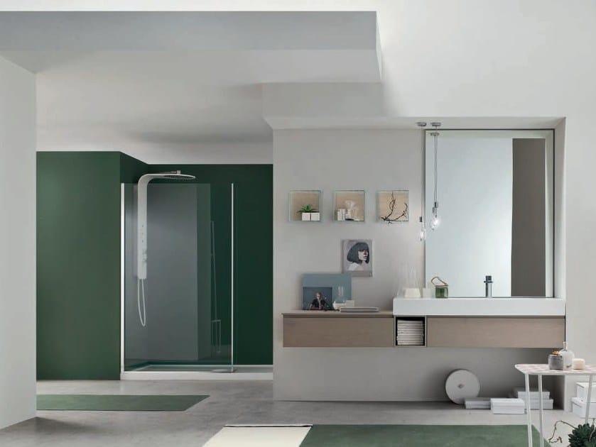 Single oak vanity unit with mirror SOUL - COMPOSITION 04 by Arcom