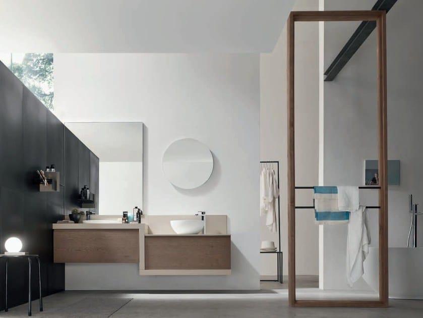 Single oak vanity unit with mirror SOUL - COMPOSITION 05 - Arcom