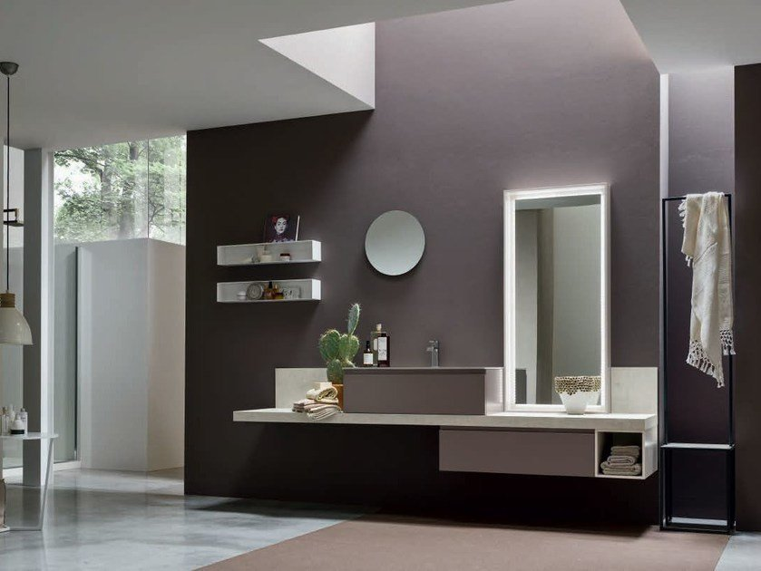 Single oak vanity unit with mirror SOUL - COMPOSITION 08 - Arcom