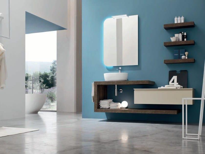 Single oak vanity unit with mirror SOUL - COMPOSITION 09 - Arcom